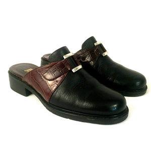 Brighton Two Toned Black & Brown Croc Mules Sz 5.5